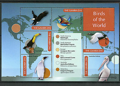 Gambia 2011 MNH Birds of Africa Eagles Toucan Penguins Pelicans 6v M/S II Stamps