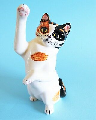 Babbacombe Pottery (Devon/torquay) - (Lrg) Stretching Calico Cat