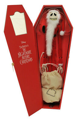 "Nightmare Before Christmas SANTA JACK Doll In COFFIN BOX NBX 16"" Figure DISNEY"