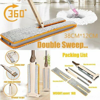 NEW Lazy Hands Free Washing Double Sides Flat Mop Cleaning Tool Home Cleaner ET