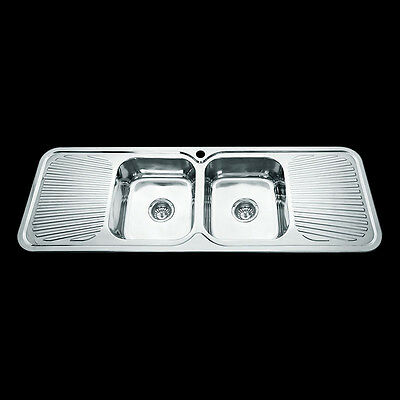 304 Stainless Steel Drop In Topmount Kitchen Sink Double Bowl Drainer 1500x500