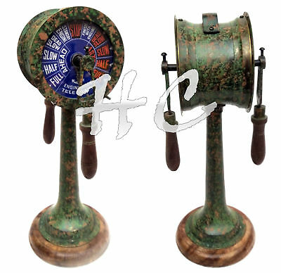 Solid Brass Patina Finish Telegraph Decorative Antique Nautical Ship Engine Room