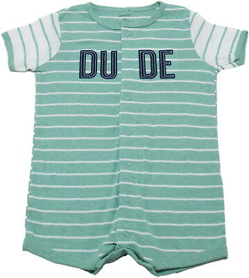 """Carter's Baby Boys 1-Piece """"Dude"""" Romper, Teal/White"""