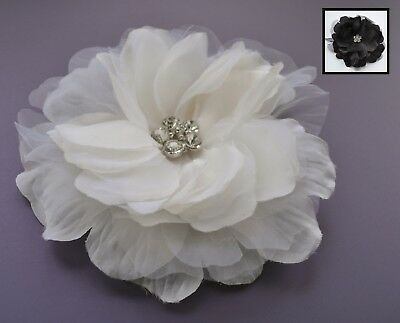 Black fascinator hair clip/corsage. Shiny and sheer fabric flower & crystals. UK