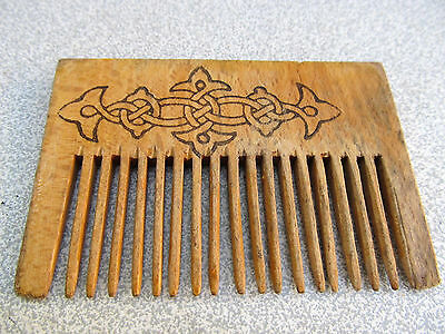 Old Antique Primitive Hand Carved Wooden Hair Comb