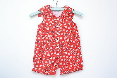 Gorgeous Vintage Girls Red and White Cotton Twill Seashell Playsuit Age 2-3 Yrs