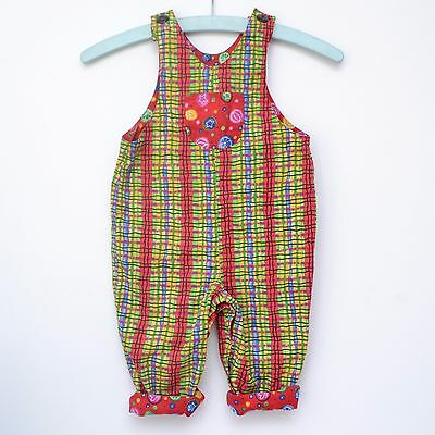 Gorgeous Vibrant Vintage 80s 90s Girls Reversible Pure Cotton Dungarees