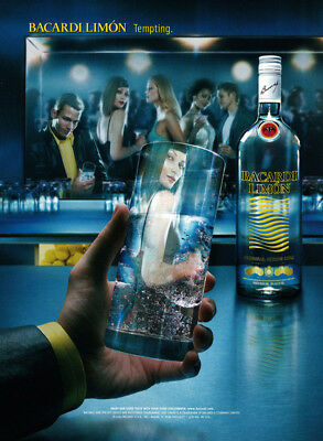 Bacardi Limon print ad 2002 Woman's image in glass