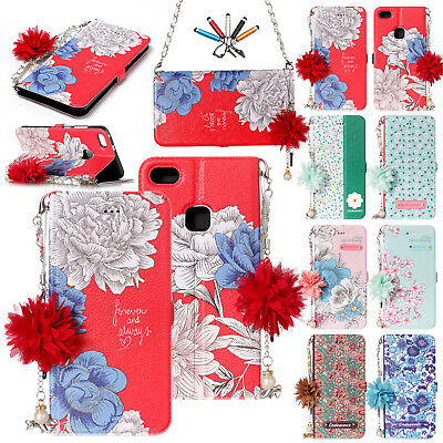 For Huawei P8 Lite/P10 Lite Flip Long Chain Leather Magnet Card Stand Case Cover