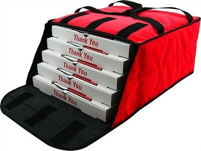 """Case of 5 Pizza Bags (Holds 4-5 16"""" or 18"""" pizzas) Red."""