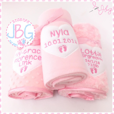 Personalised Baby Blanket, Baby Girls Gift, New Baby Present, Embroidered Unique