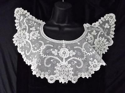 Antique Off-White Schiffli Embroidered Floral Brussels Net Lace Bertha Collar