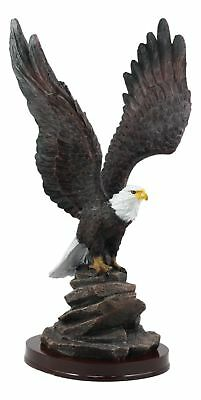 Large 14.5 Inch Tall American Bald Eagle On Rock Figurine Patriot Statue Resin