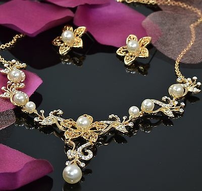 Pearl Gold Tone Flower Bridal Wedding Necklace Earring Jewellery Set Gift Boxed