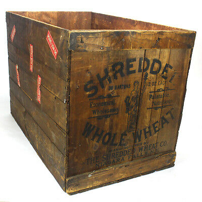 Vintage Large Wood Shredded Whole Wheat Shipping Crate