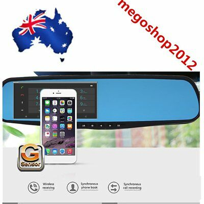 "1080P 4.3"" HD Dual Len Video Recorder Dash Cam Car Rearview Mirror Camera DVR BR"
