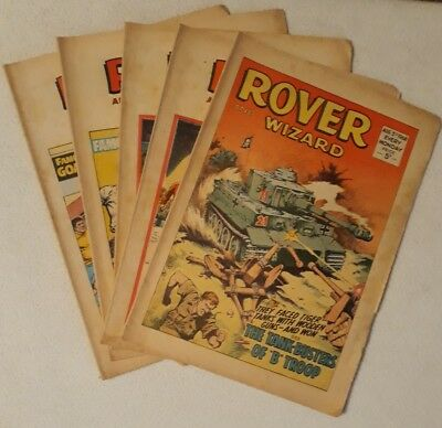 5 1968 Issues of Rover & Wizard ALL HIGH GRADE UK Comic