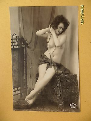 Original French 1910's-1920's Nude Risque Postcard Sexy Lady Breasts Leggy #157