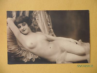 Original French 1910's-1920's Nude Risque Postcard Sexy Lady Lay Down Pose #80
