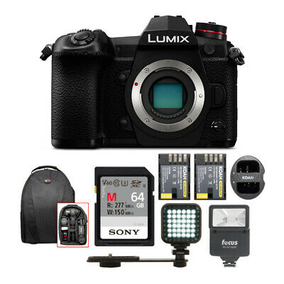 PANASONIC LUMIX G9 Mirrorless Camera Body w/ Digital Slave Flash & 64GB Bundle