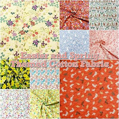 Easter Bunny and Spring Themed Animal + Floral 100% Cotton Patchwork Fabric