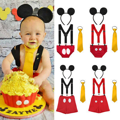 Boys 1st Birthday Cake Smash Outfit Mickey Mouse Ear Necktie Suspenders Pants