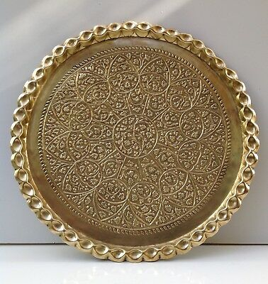 Antique Brass Kashmiri Tray Islamic Middle Eastern Repousse 18""