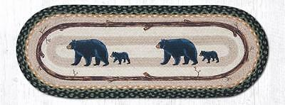 """MAMA & BABY BEAR 100% Natural Braided Jute Runner 13"""" x 36"""" Oval, by Earth Rugs"""