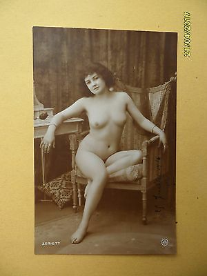 Original French 1910's-1920's Jean Agelou Nude Risque postcard Sexy Lady Pose #7