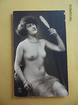Original French 1910's-1920's French Nude Risque postcard Sexy Lady Mirror (#14)