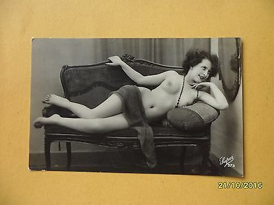 Original French 1910's-1920's Nude Risque Postcard Sexy Lady Lays on Sofa #53