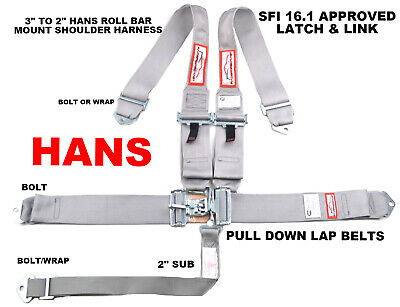 Hans Racing Safety Harness Sfi 16.1 Racing 5 Point Roll Bar Mount Gray