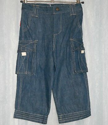 ** NEW ** RHUBARB Kids Blue Cargo Jeans Size 2-3 years Boy Girl Unisex Pant