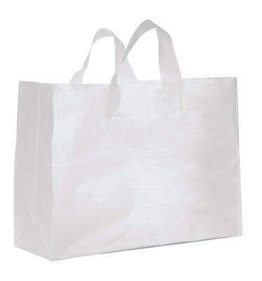 Large Clear Frosted Plastic Gift Bags - Case of 25