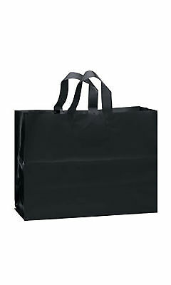 Large Black Frosted Plastic Gift Bags - Case of 25