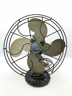 Vintage Emerson Electric Type 2450B Metal Blade Oscillating Desk Fan