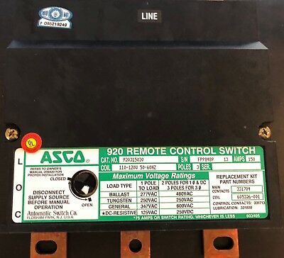 Asco 920 remote control switch 3 poles 150 amps 110-120v 50-60hz 920315030 NEW