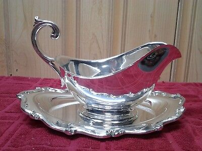 "Antique Silver Plate Scrolled Handle Gravy Boat 7 1/2"" x 5 3/4 Tall W/ Plate"