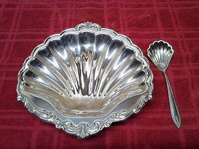 Antique Leonard A Towle Silver Co. Clam Shell Footed Bowl Plate Tray W/ Spoon