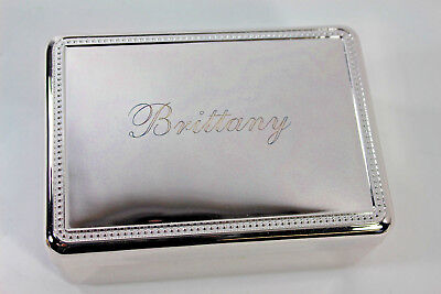 RedEnvelope Silverplate Jewelry Box Engraved BRITTANY New w/ Box for Valentines