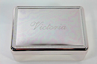 RedEnvelope Silverplate Jewelry Box Engraved VICTORIA New w/ Box for Valentines