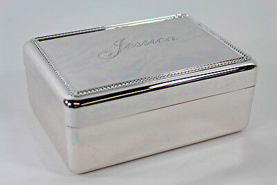 RedEnvelope Silverplate Jewelry Box Engraved JESSICA New w/ Box for Valentines