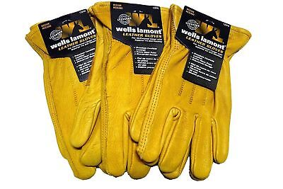 Wells Lamont Premium Cowhide Leather Work Gloves M, L, XL, 1, 2, 3 or 6 Pair
