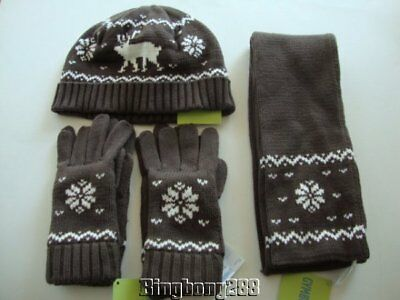Gymboree MOUNTAIN LODGE Brown Moose Snowflake Scarf Hat Gloves Boy Size 8 & Up