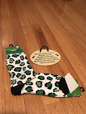 Irish Blessing Plaque and green leopard print socks.