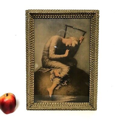 Antique Hand Carved Wood Frame Tramp Art Folk Art