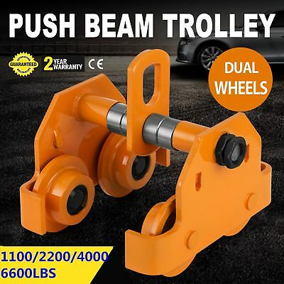 1/2-3T Ton Push Beam Trolley For Heavy Loads To 6600 Lb Fits Straight I Beam