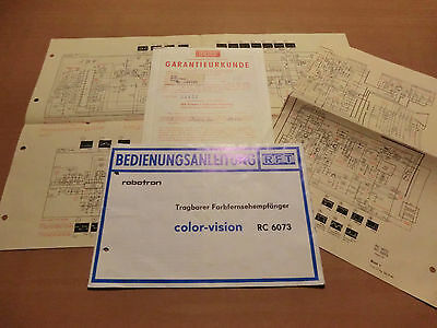 BEDIENUNGS-ANLEITUNG ROBOTRON color-vision RC 6073 DDR RFT Koffer ...