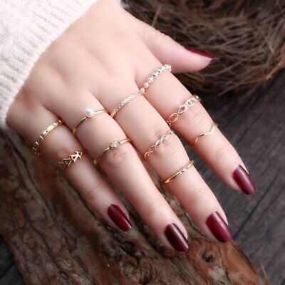 10Pcs/set Women Boho Vintage Crystal Pearl Finger Midi Bohemia Punk Knuckle Ring