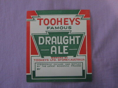Vintage Tooheys Famous Draught Ale Beer Label